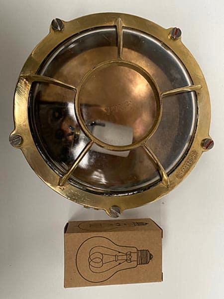 Vintage brass Miletich nautical bulkhead light - scale