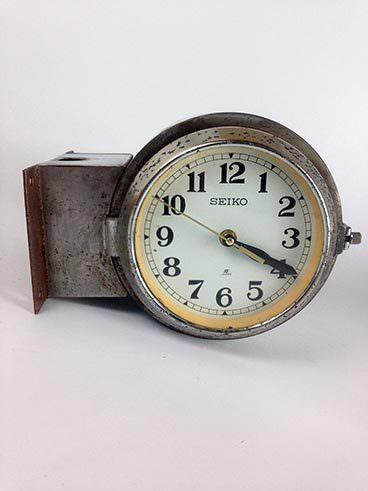 vintage ship s steel sided clock original blue