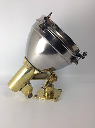 vintage brass steel ship's searchlight