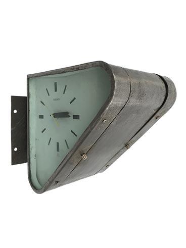 Vintage triangular double-sided steel ship's clock - main