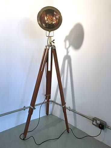 Brass Copper Ship S Cargo Light On Tripod, Tripod Spotlight Floor Lamp Aldi