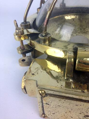 reclaimed ships light vintage brass bulkhead fittings detail