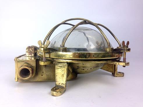 reclaimed ships light vintage brass bulkhead full side view