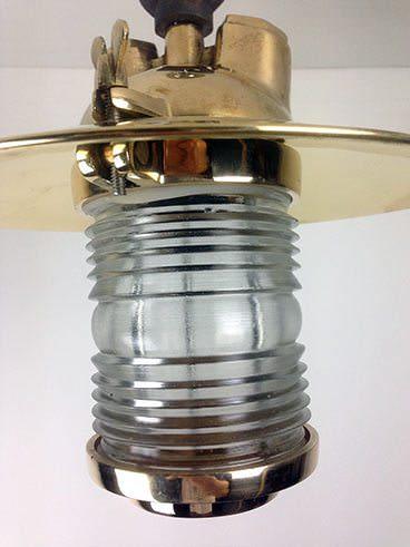 side view brass fresnel lens ship's pendant light