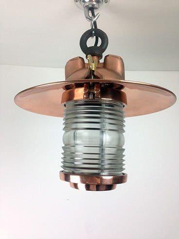 side view copper fresnel lens ship's light