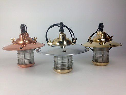 range of fresnel lens ship light: copper, brass, aluminium - side view