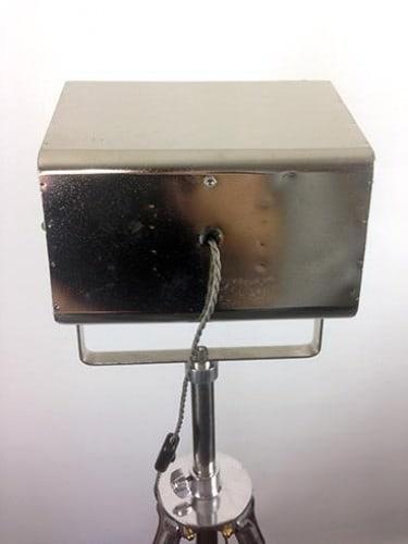 Vintage Strand Pattern 137 baby floodlight mounted on a chrome tripod - rear
