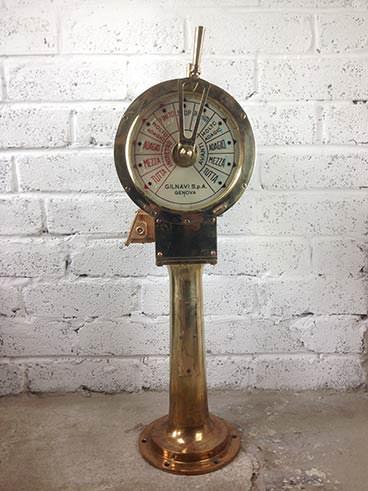 Vintage Gilnavi Italian brass ship's engine order telegraph - other side
