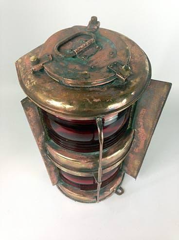 Vintage copper port double masthead ship's lantern - view