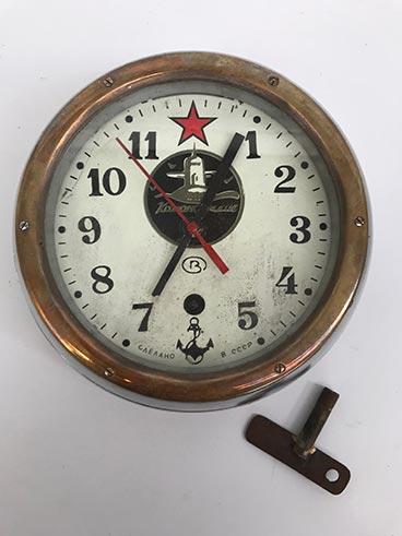 Vintage Russian submarine clock brass-rimmed - full