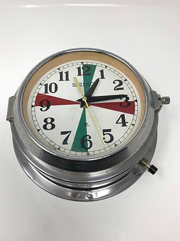 Vintage Seiko ship's radio-room clock polished - angle