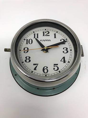 Vintage kappe ship's clock blue-green - angle