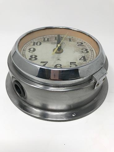 Vintage rimmed Seiko ship's clock steel - angle