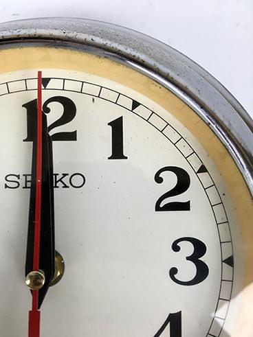 Vintage Seiko rimmed ships clock polished - detail