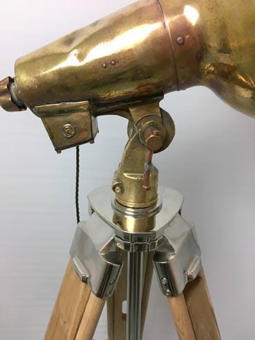 Vintage large brass ship's searchlight tripod floor lamp - detail2