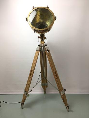 Vintage large brass ship's searchlight tripod floor lamp - main