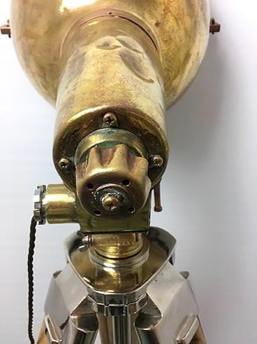 Vintage large brass ship's searchlight tripod floor lamp - rear