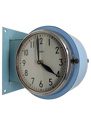 Vintage Ship S Steel Double Sided Clock Blue Enamel