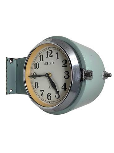 Ship's Clock - Vintage XXWide Double-Sided Round Seiko Blue-Green Enamel