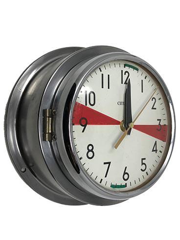 Ship's Clock - Vintage Radio-Room Citizen Polished Steel