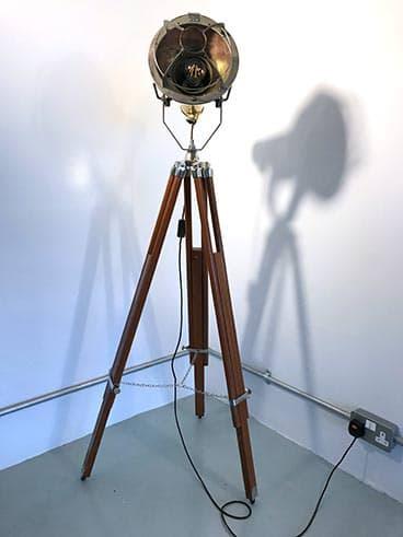 Tripod Floor Lamp - Vintage Nautical Brass & Steel Caged