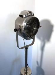 Vintage Polished Lita 67 Mini Theatre Spotlight on Steel Tripod