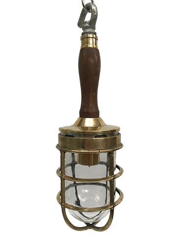 Vintage Pendant Light - Nautical Wooden-Handled Inspection Lamp
