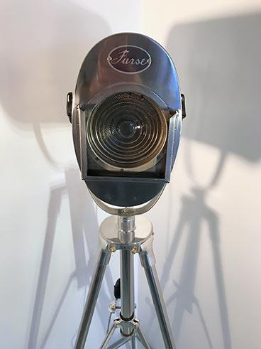 Vintage theatre light - Furse SFR tripod lamp polished - close