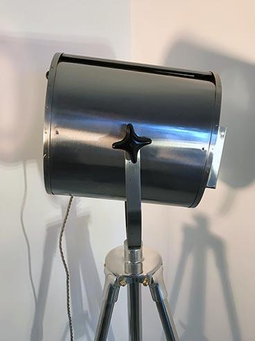 Vintage theatre light - Furse SFR tripod lamp polished - side