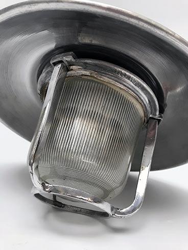 Vintage pendant light - industrial nautical aluminium with shade - detail