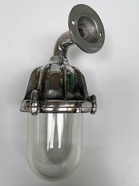 Vintage ribbed aluminium industrial wall light - back