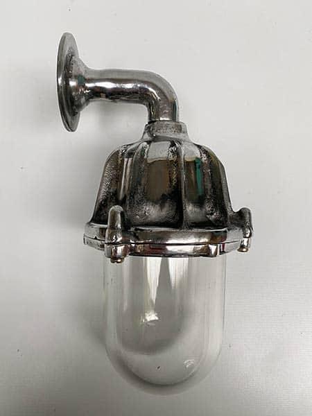 Vintage ribbed aluminium industrial wall light - side