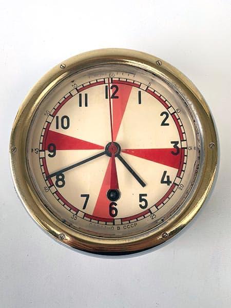 Vintage Soviet submarine clock, brass-rimmed-radio room - full