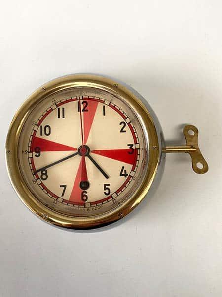 Vintage Soviet submarine clock, brass-rimmed-radio room - key