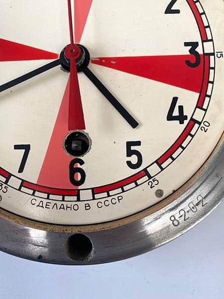 Vintage Soviet submarine clock, brass-rimmed-radio room - Made in USSR